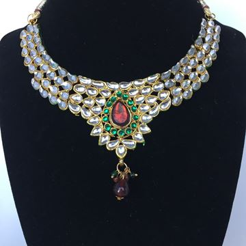 Picture of Kundan Necklace with earrings (Red green stone Combination)