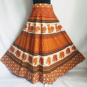 Picture of Brown wraparound skirt.
