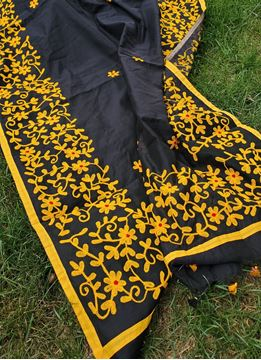 Picture of Black cotton saree