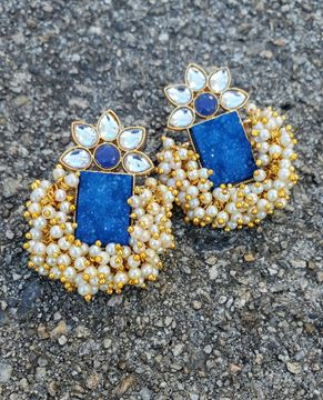 Picture of Blue Gajra Earring